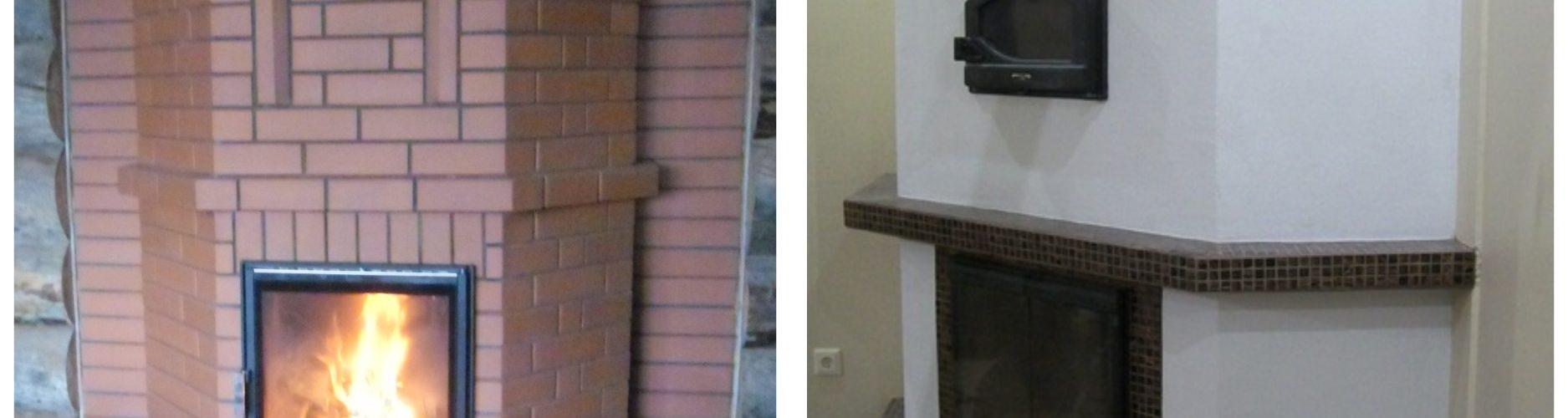 Отопительный камин с расшивкой швов и похожий камин с декоративной отделкой.